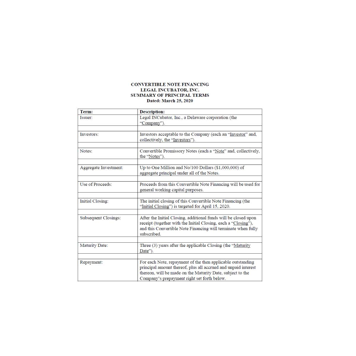 Convertible Note Term Sheet Explained California Counsel Group Convertible note term sheet template